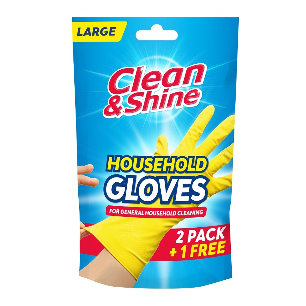 LARGE YELLOW RUBBER GLOVES 2 PACK + 1 FREE