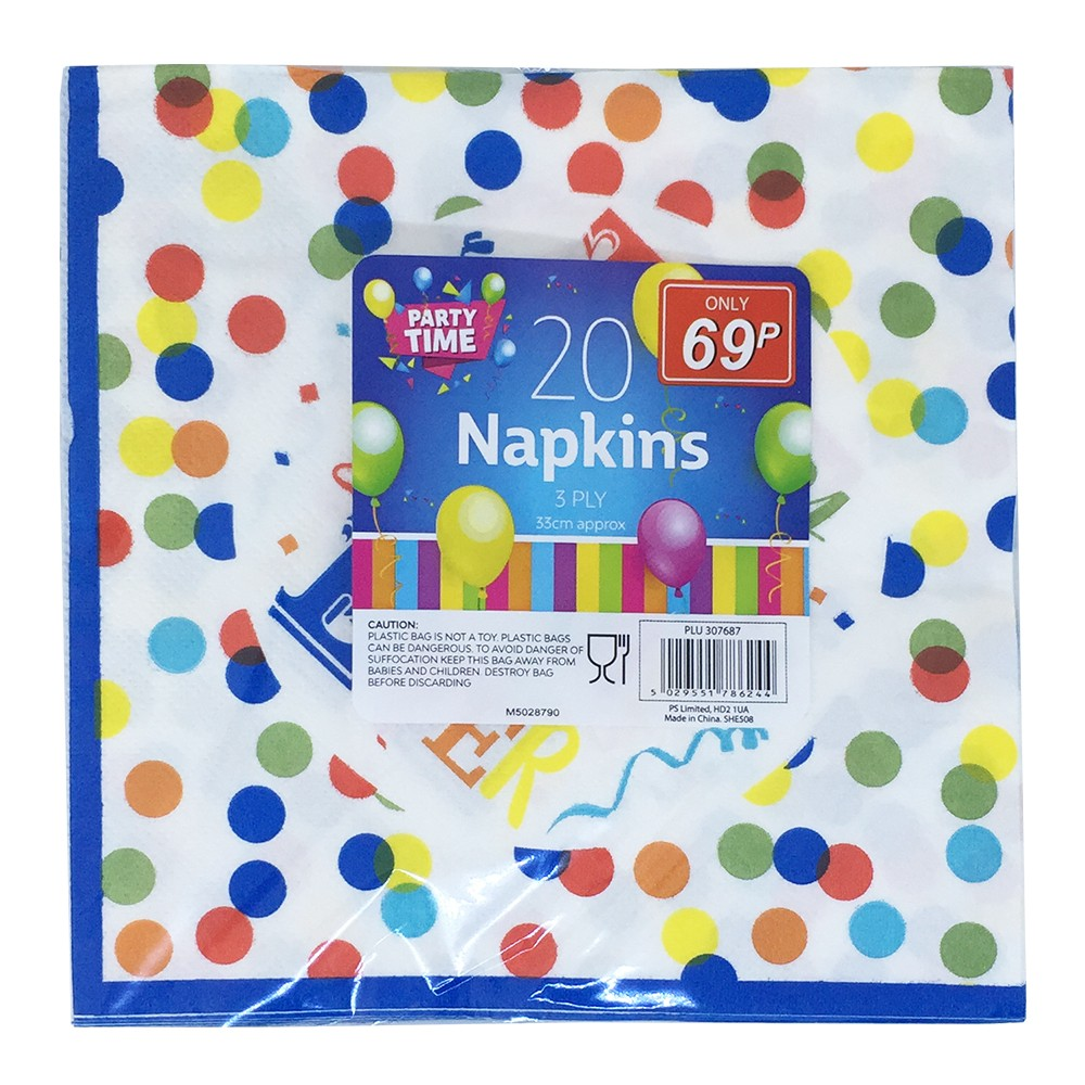 20 PARTY TIME 3 PLY NAPKINS