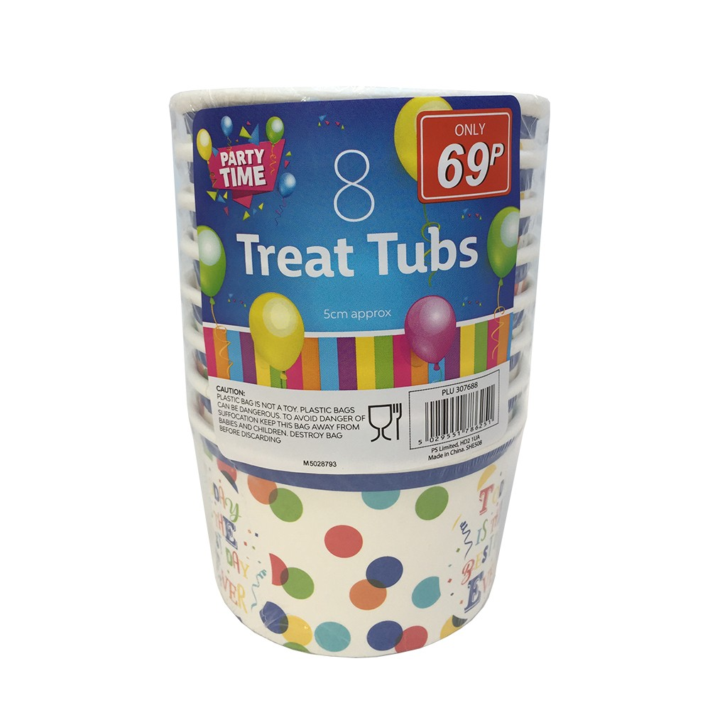 8 PARTY TIME TREAT TUBS