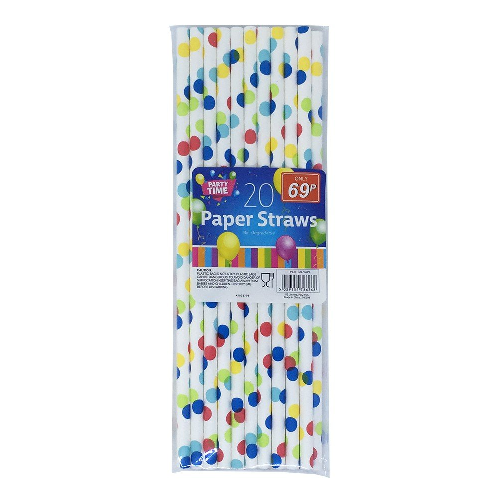 20 PARTY TIME PAPER STRAWS