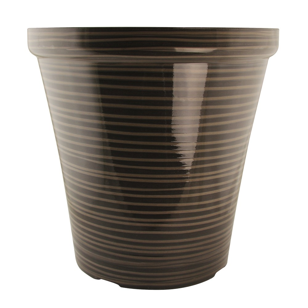 BROWN TALL STRIPE PLANTER ASSORTED 16.5""