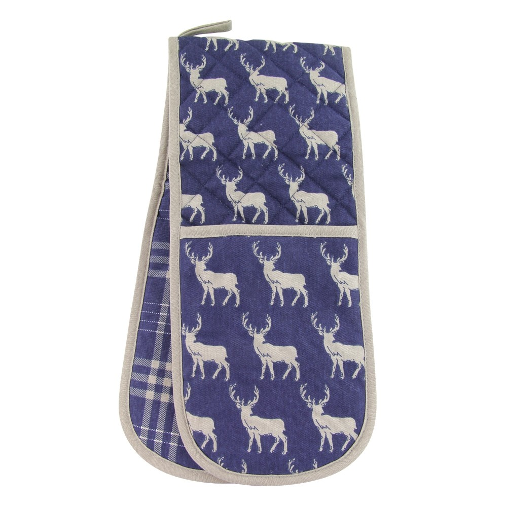 DOUBLE OVEN GLOVE - BLUE STAG