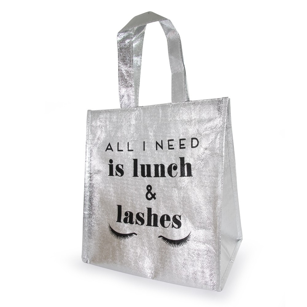 METALLIC LUNCH BAG SILVER 'LASHES'