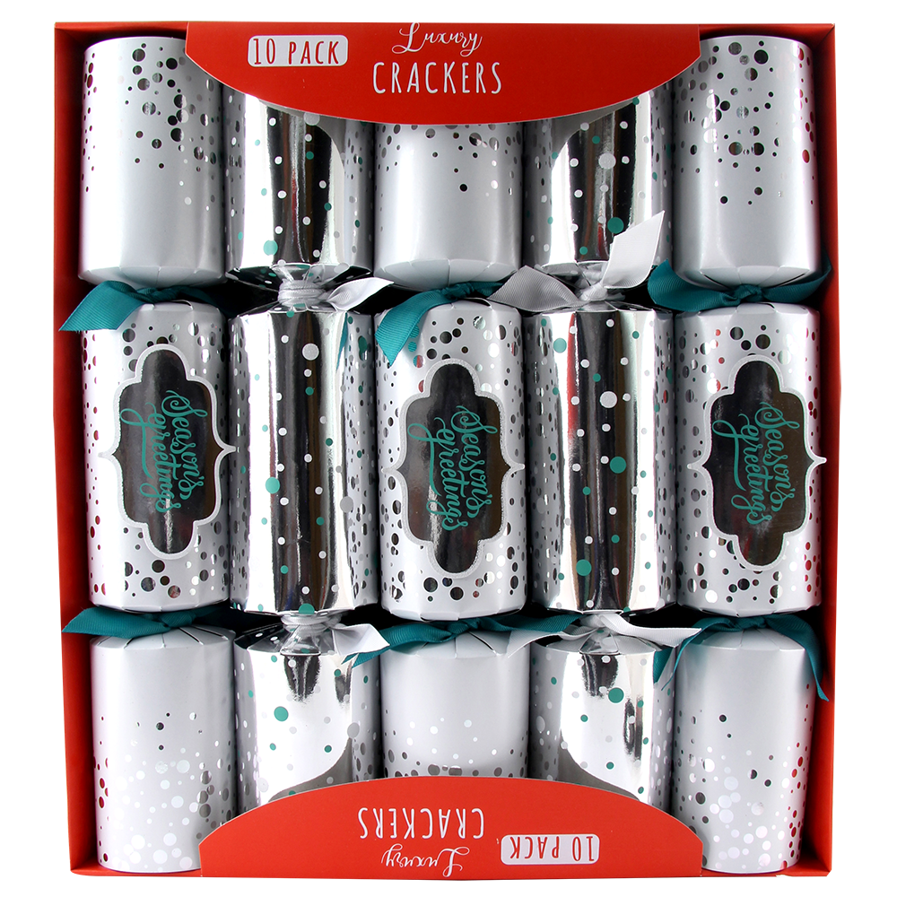 10 LUXURY SILVER CHRISTMAS CRACKERS