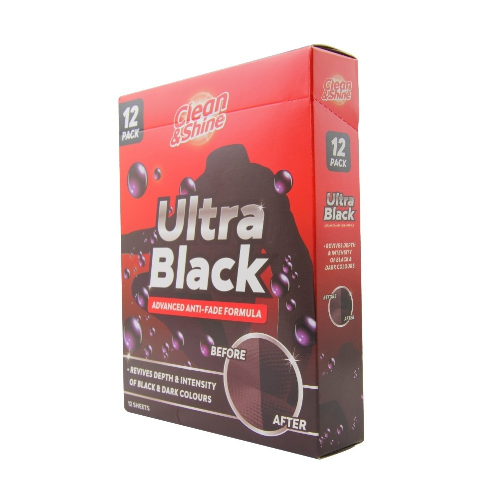 CLEAN & SHINE ULTRA BLACK SHEETS 12 PACK