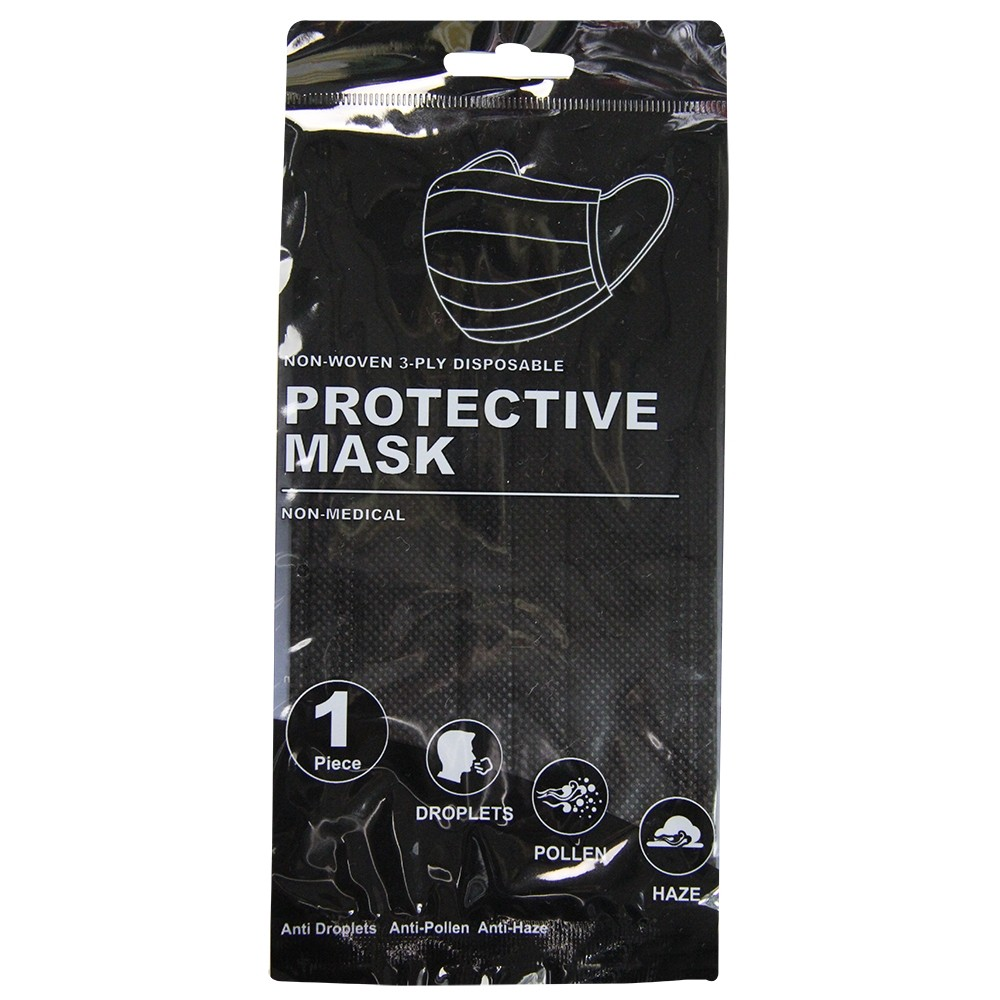 DISPOSABLE PROTECTIVE MASK - BLACK