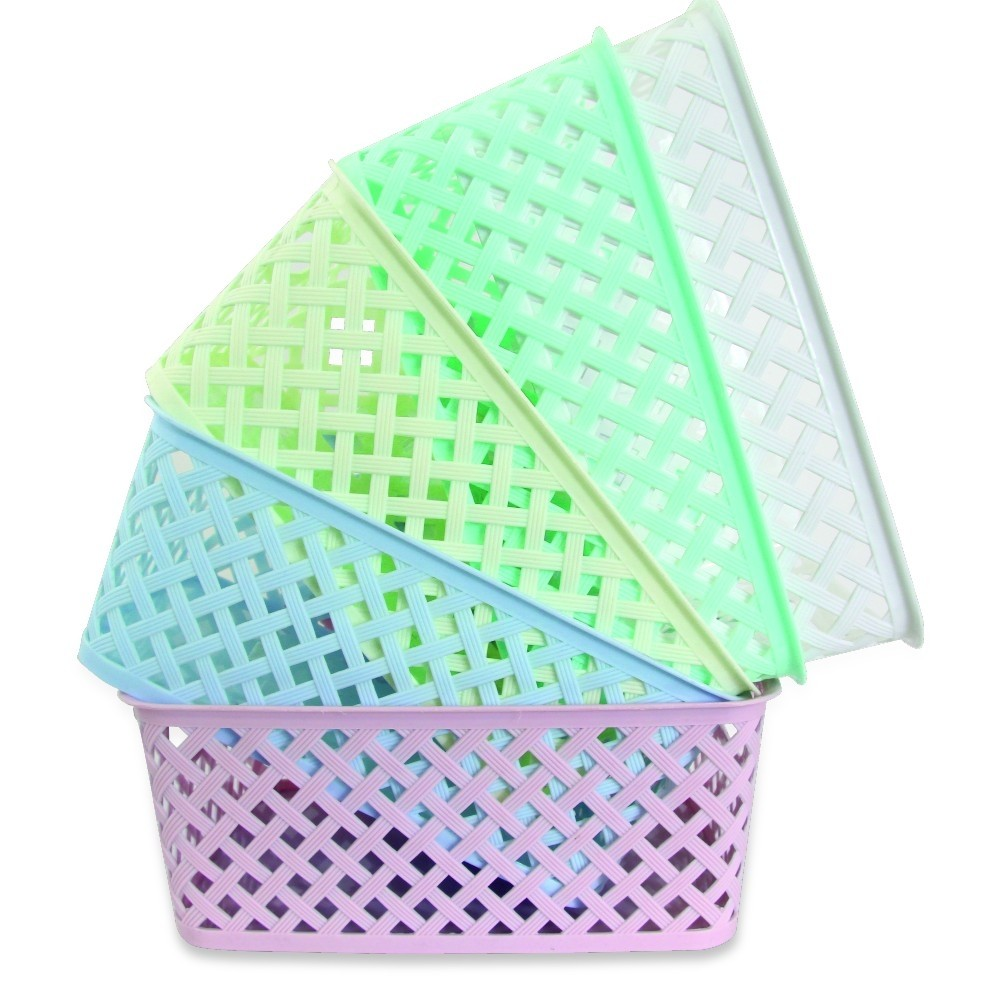 SMALL PASTEL PATTERN BASKET - ASSORTED COLOURS