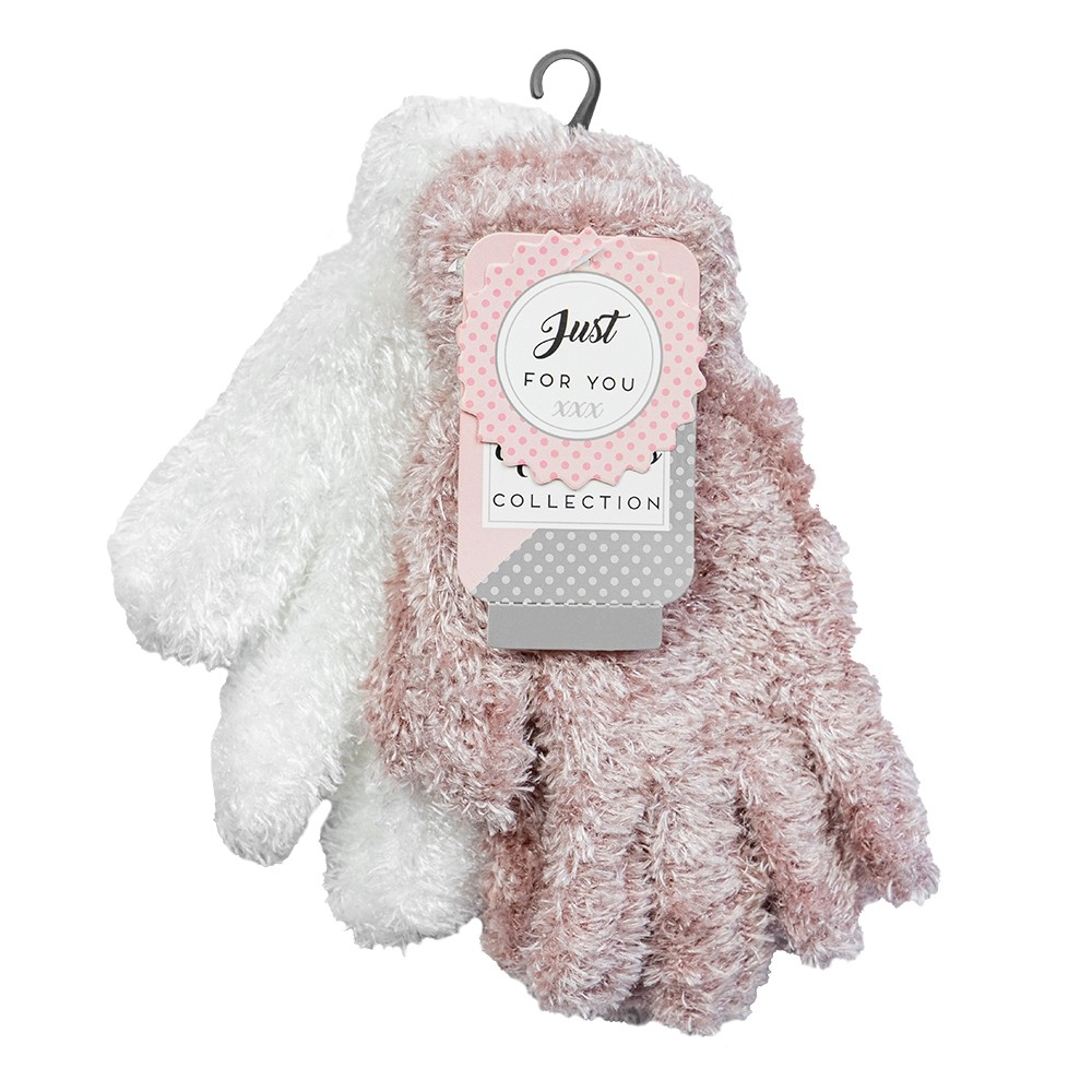 2 PACK LADIES FEATHERED WHITE & PINK GLOVES