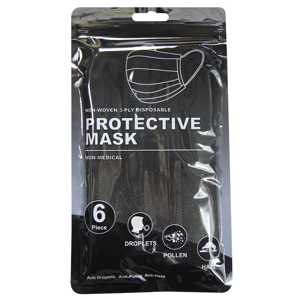 6 DISPOSABLE PROTECTIVE MASKS - BLACK