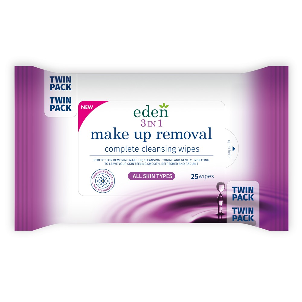 EDEN 3 IN 1 MAKE UP REMOVAL WIPES 25 TWIN PACK