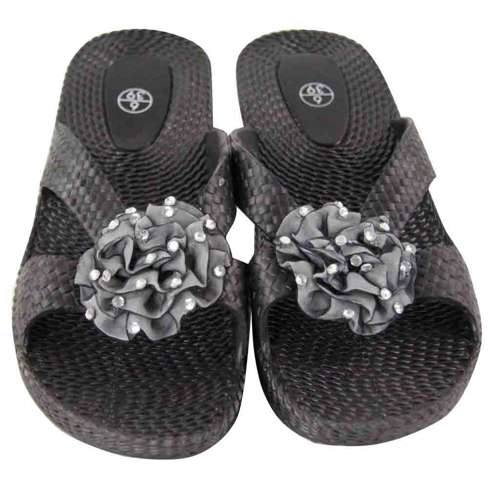BLACK LADIES FLOWER SANDALS