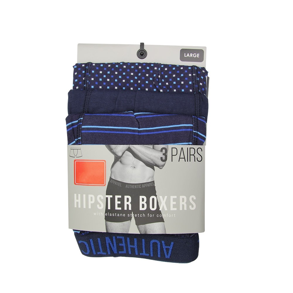 3 PACK BLUE HIPSTER BOXERS