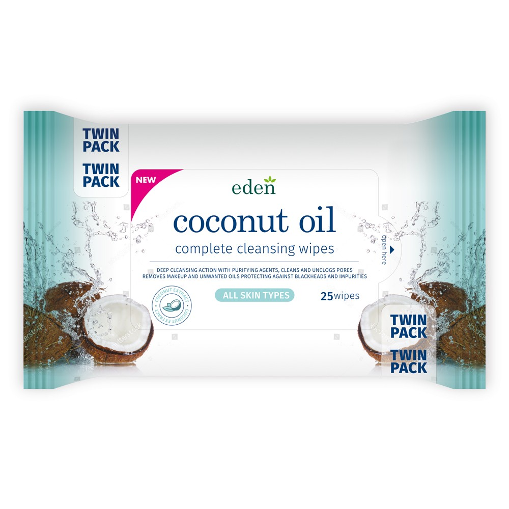 EDEN COCONUT OIL WIPES 2X25