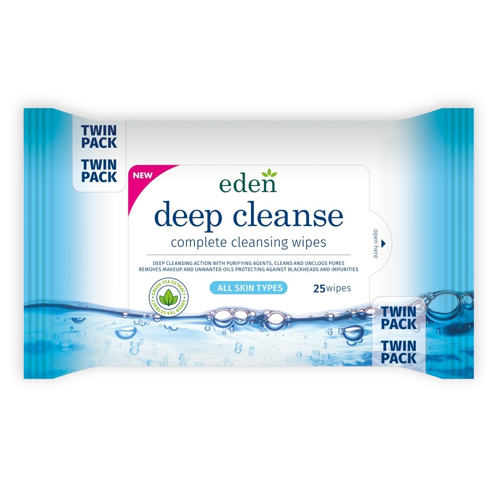 EDEN DEEP CLEANSE  WIPES 25 TWIN PACK