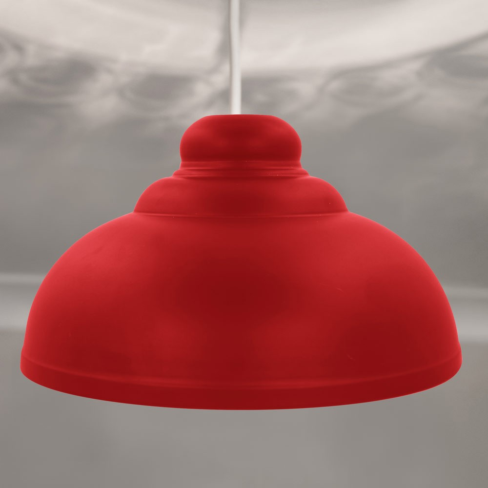 RED METAL DOME SHADE