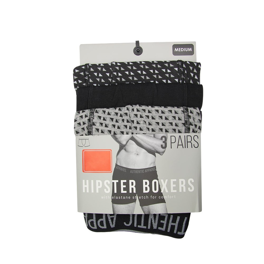 3 PACK BLACK HIPSTER BOXERS