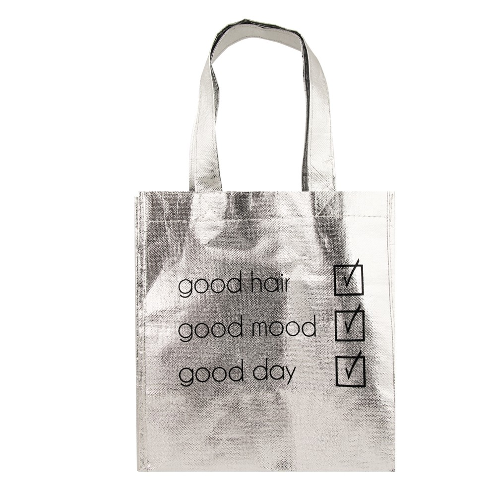 SILVER METALLIC TOTE BAG 'GOOD LIST'