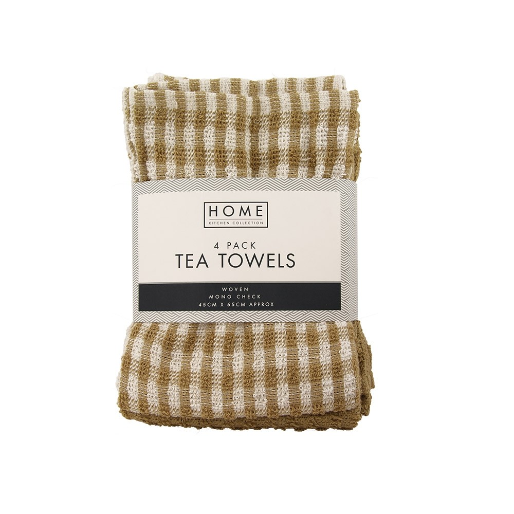 4 PACK YELLOW CHECK TERRY TEA TOWELS