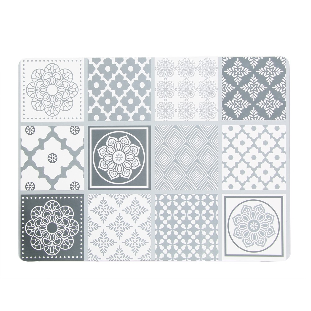 4 PACK GREY TILE PLACEMATS