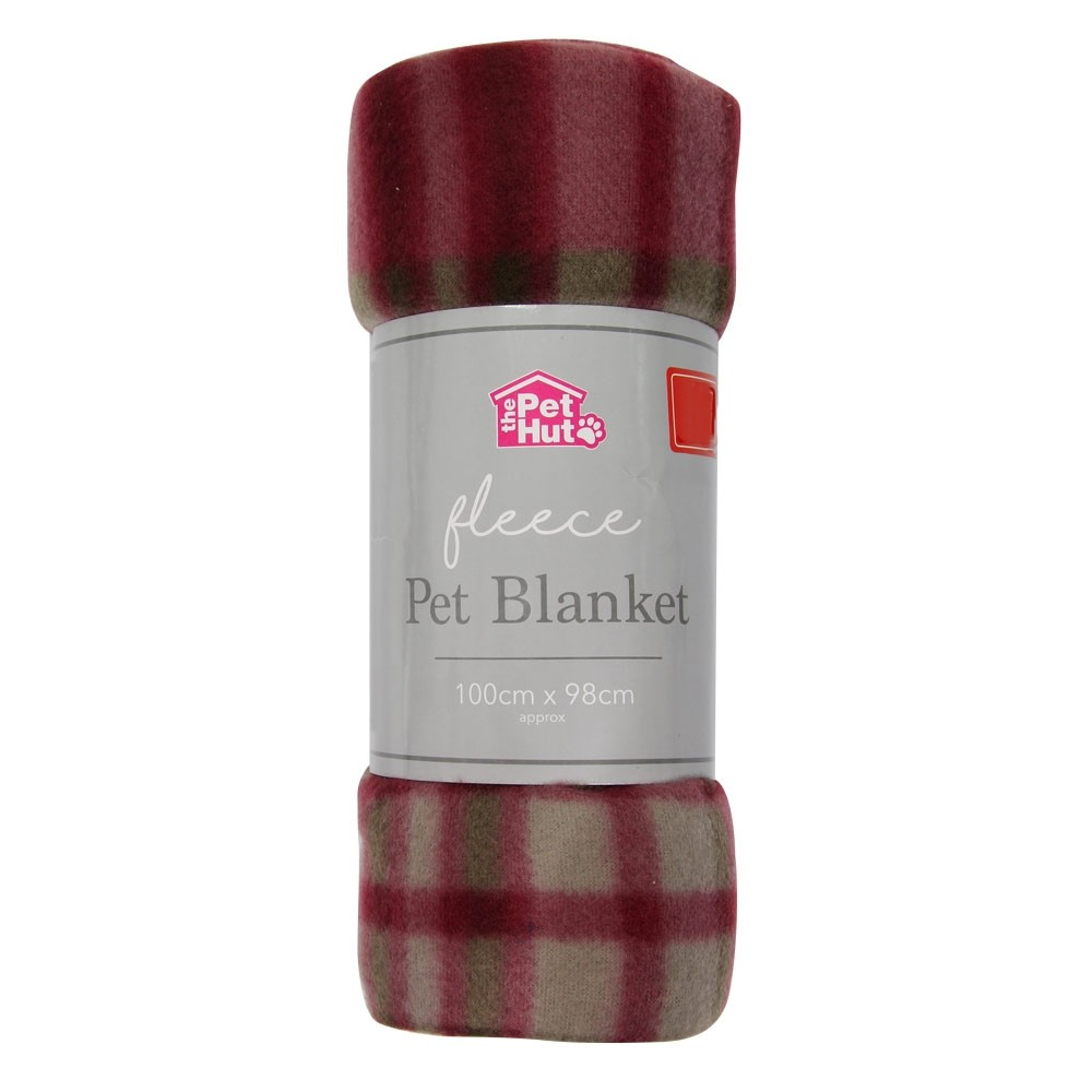 FLEECE PET BLANKET - RED CHECK