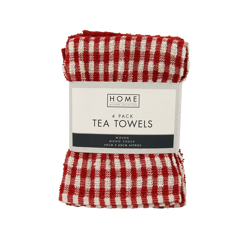 4 PACK RED CHECK TERRY TEA TOWELS