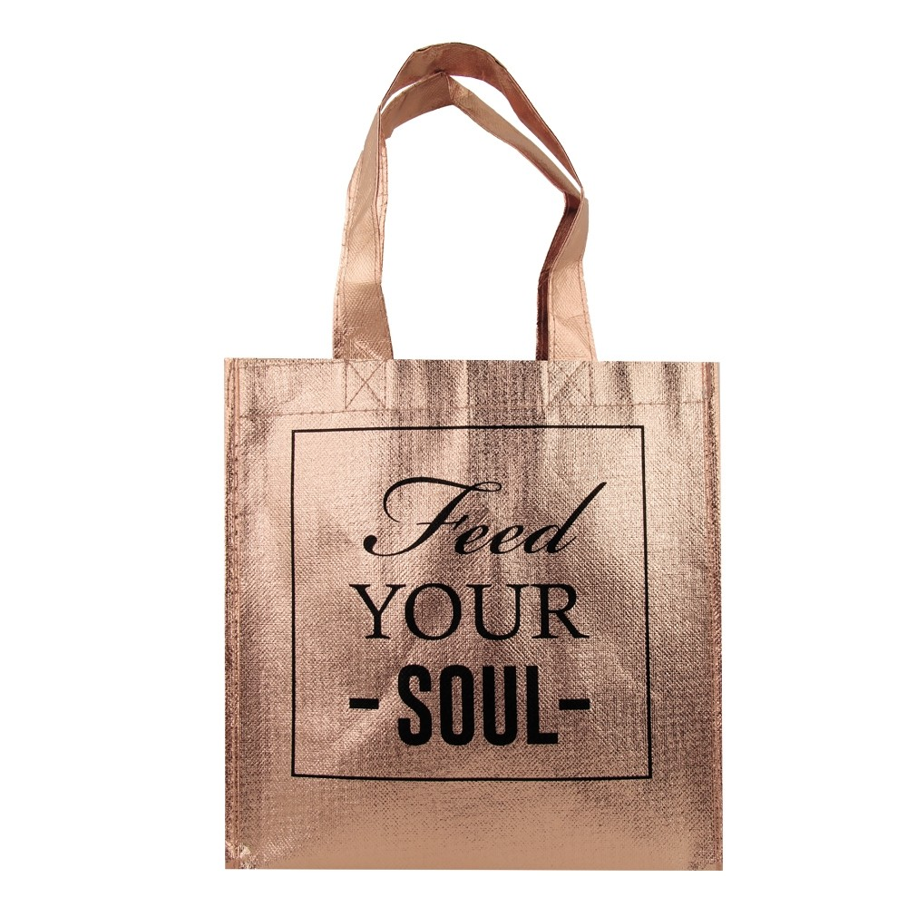 ROSE GOLD METALLIC TOTE BAG 'FEED YOUR SOUL'