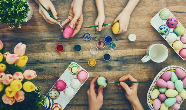 Decorate eggs for an egg and spoon race for Easter