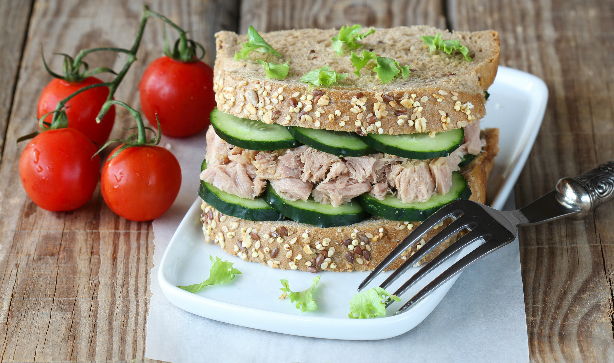 A tuna melt with cucumber and lettuce is a fresh sandwich for Summer time