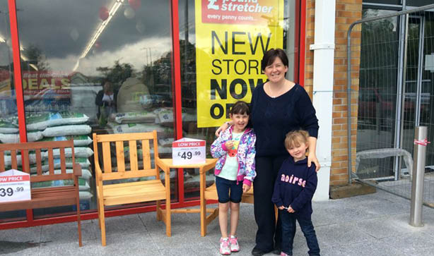 A family winning a Jack & Jill Bench Set at our Aylesford store opening