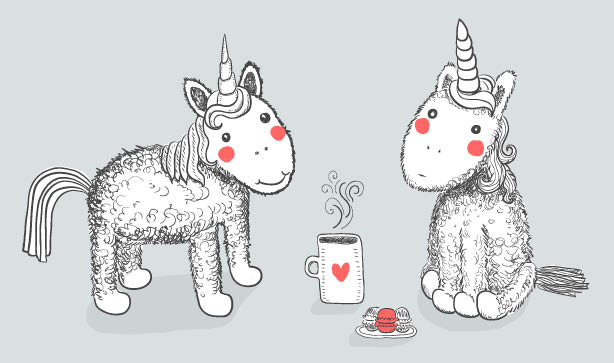 Two unicorns with a cup of tea
