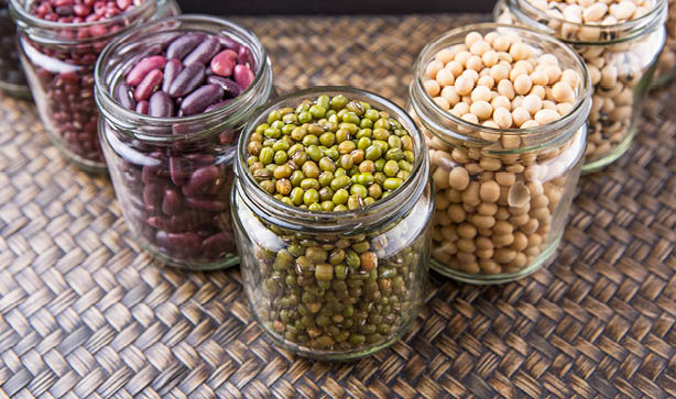 Jars filled with colourful pulses like lentils, chickpeas and more!