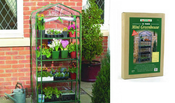 Gardman 4 Tier Green House lifestyle and product images