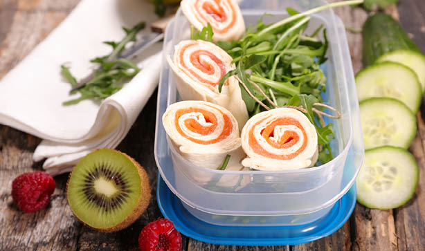 4 salmon wraps with salad and fruit for back to school lunch ideas