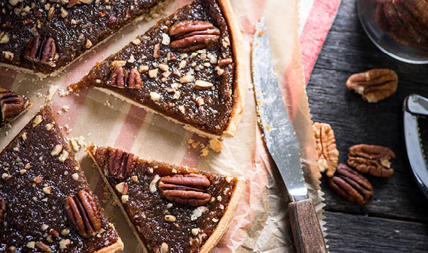 Slices of a pecan pie