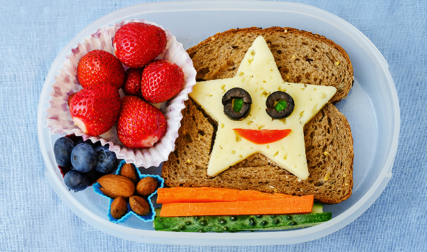 Decorative sandwich with star and smiley face