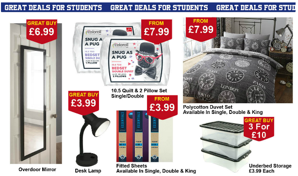 The Poundstretcher back to uni range including bedding, storage, desk lamp, fitted sheets and more
