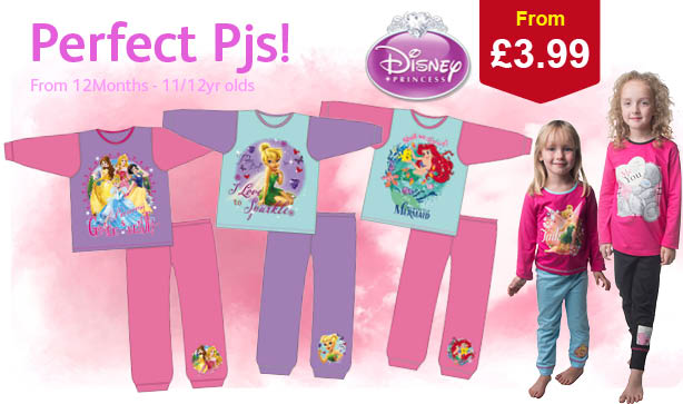 Disney Princess Pjs with 2 girls posing in their faves from the range
