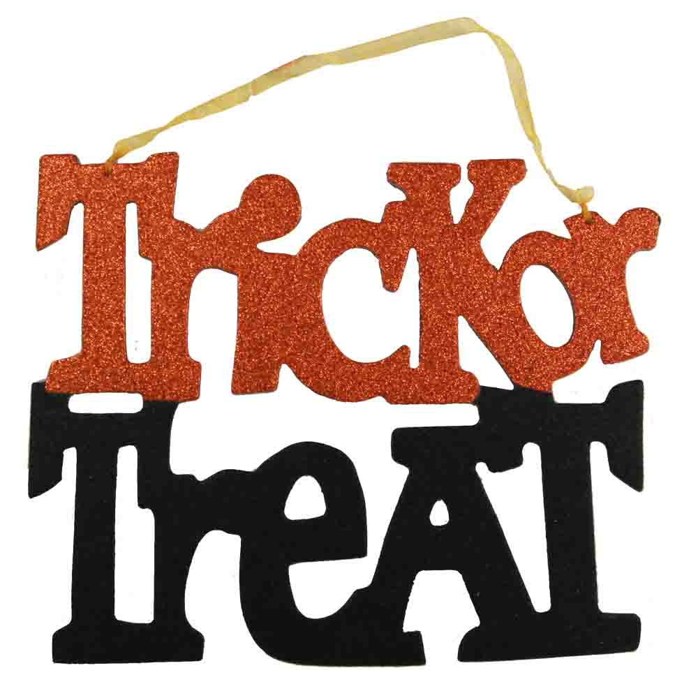 hanging trick or treat sign