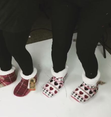 heart printed fluffy slippers and pink tarten slippers