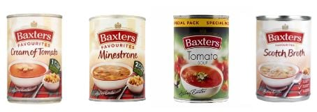 picture of four different types of baxters soup