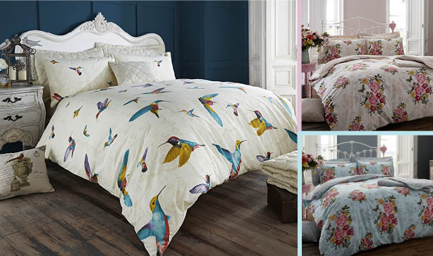Floral and hummingbird printed bedding