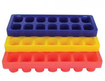 assorted range of ice cube trays in purple, yellow and red