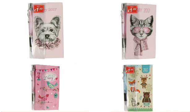 Four Poundstretcher diaries featuring various designs