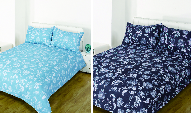 Poundstretcher floral retro duvets on two double beds