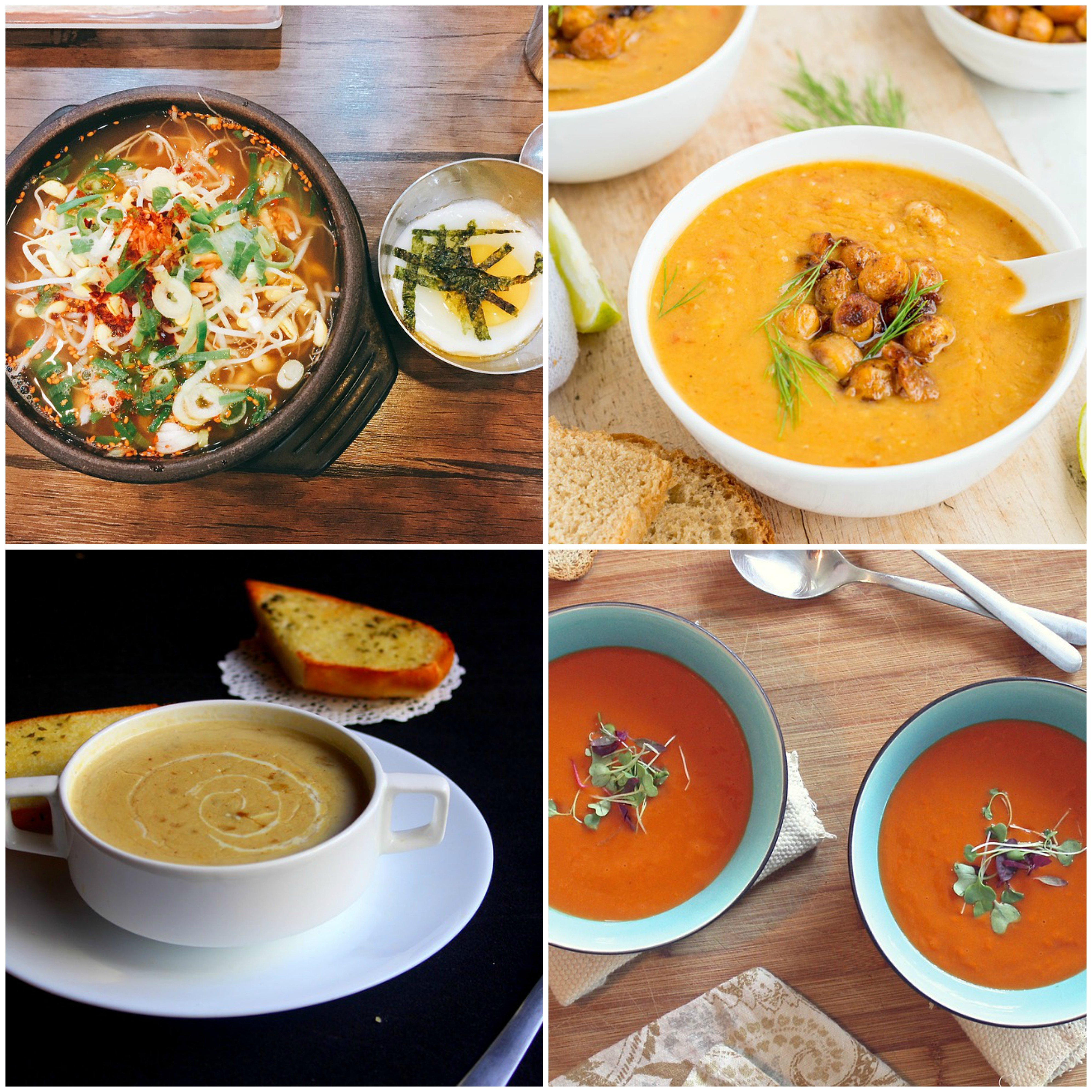 collage of soup