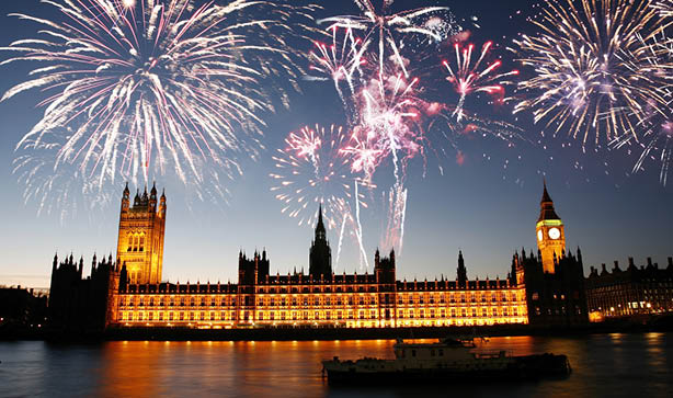 Fire work display over Houses of Parliament