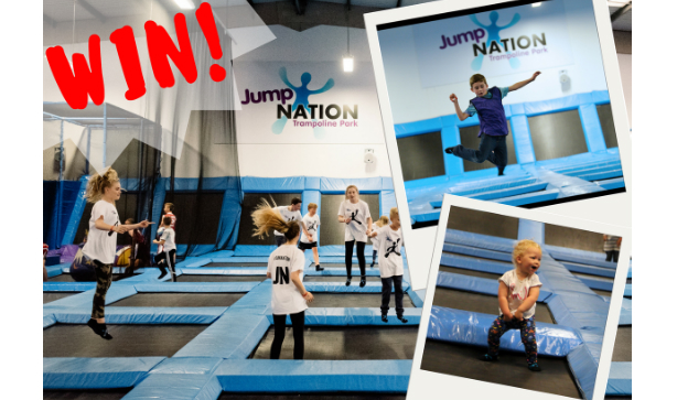 Win Jump Nation family pass competition art work with kids on trampolines