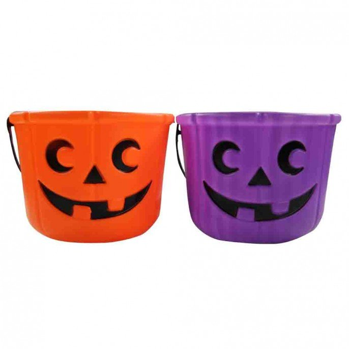 pumpkin buckets in purple and orange
