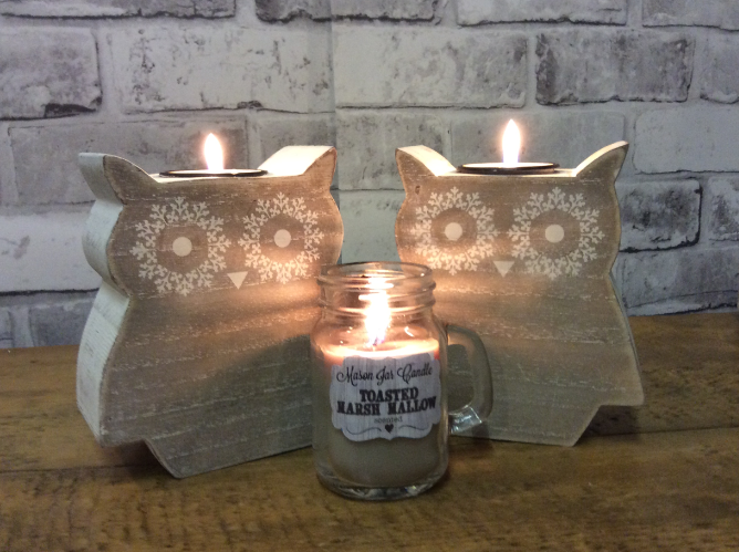 wooden owl candle holders and mason jar candles
