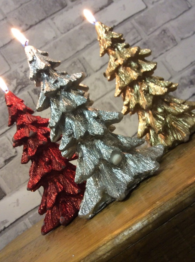 glitter christmas tree candles